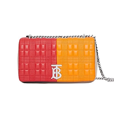 Burberry Small quilted check colour block lambskin lola bag