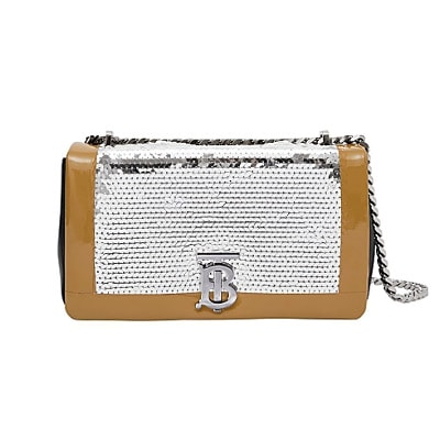 Burberry Small tape detail sequinned lambskin lola bag