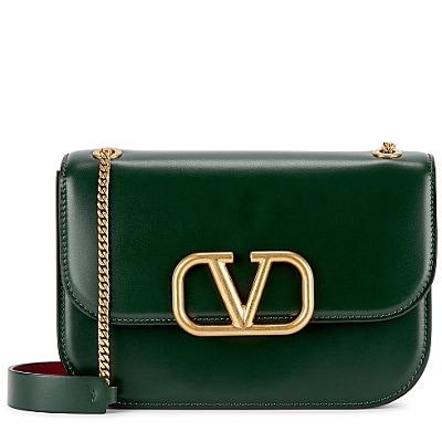 Valentino VLock small green leather shoulder bag