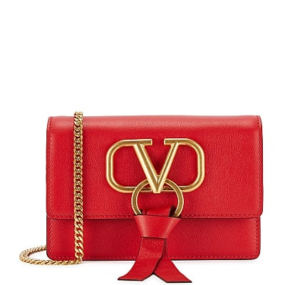 Valentino VRing red leather cross-body bag