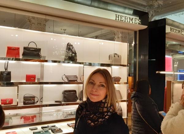 Ingrid at Hermes in Harrods