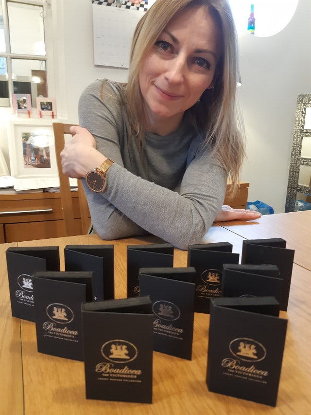 Ingrid with 10 samples of Boadicea The Victorious perfumes