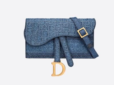 Blue Denim Oblique Saddle Pouchette