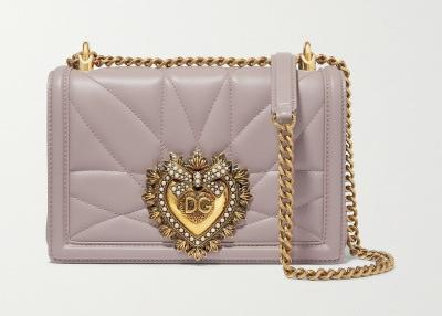 DOLCE & GABBANA Devotion Embellished Quilted Leather Shoulder Bag