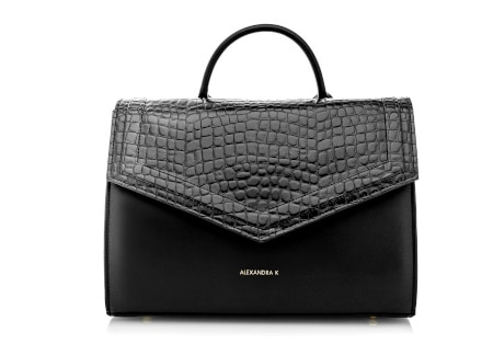 Alexandra K Faith Black Ink Croco cruelty free vegan handbag