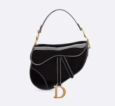 Black Patent Calfskin Dior Saddle Bag
