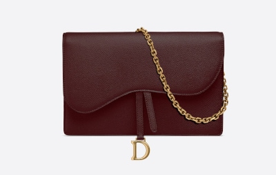 Scarlett Grain Calfskin Dior Saddle Clutch