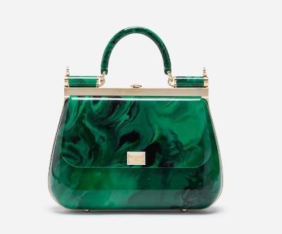 DOLCE & GABBANA Malachite Sint Glass Box Bag
