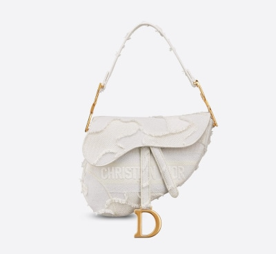 Camouflage Embroidered Canvas Dior Saddle Bag