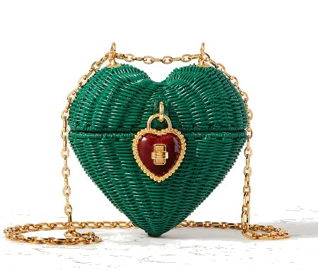 Dolce & Gabbana Heart Box Rattan and Patent Shoulder Bag