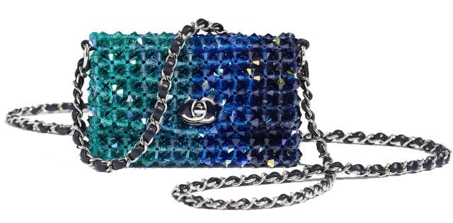 Crystal & Silver Tone Mini Flap Bag - Chanel