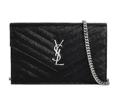 Monogram Leather Chain Wallet - YSL