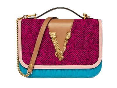 Versace - Virtus Tweed Shoulder Bag