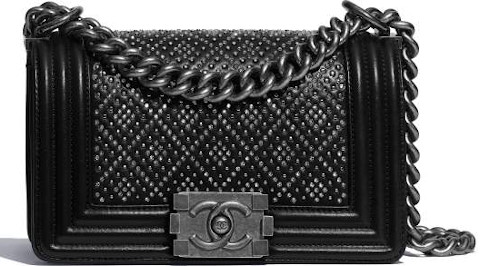 Black Studded & Ruthenium-Finish Metal Chanel Boy Bag