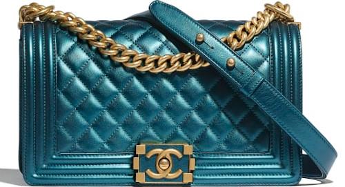 Blue Metallic & Gold Metal Chanel Boy Bag