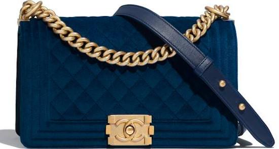 Blue Velvet & Gold Metal Chanel Boy Bag