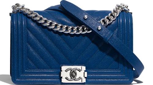 Dark Blue & Silver Metal Chanel Boy Bag