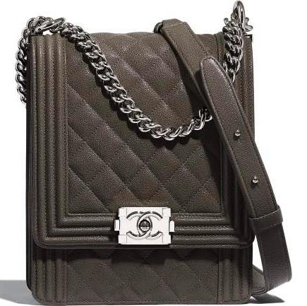 Grey & Silver Metal Chanel Boy Bag