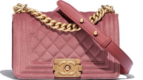 Pink Velvet & Gold Metal Chanel Boy Bag