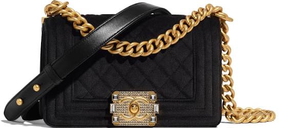 Small Black Velvet & Gold Metal Chanel Boy Bag