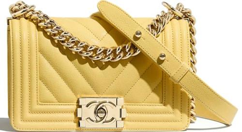 Yellow & Gold Metal Chanel Boy Bag