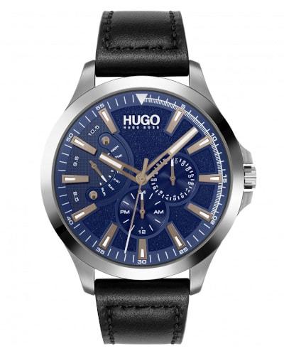 HUGO Leap Black Leather Strap Watch