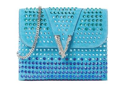Versace Virtus Suede Crystal Clutch